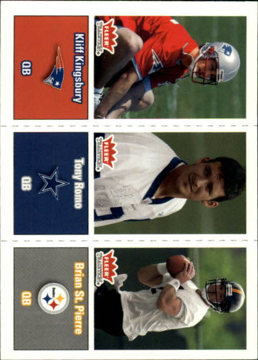2003 Fleer Tradition #299 Kliff Kingsbury RC/Tony Romo RC/Brian St. Pierre RC