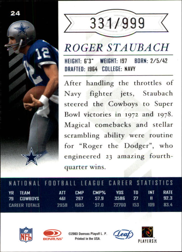 2003 Leaf Limited #24 Roger Staubach back image