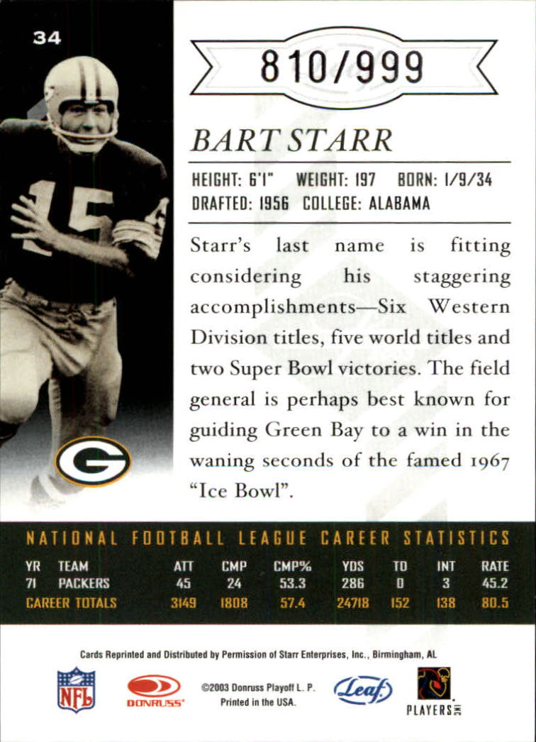 2003 Leaf Limited #34 Bart Starr back image
