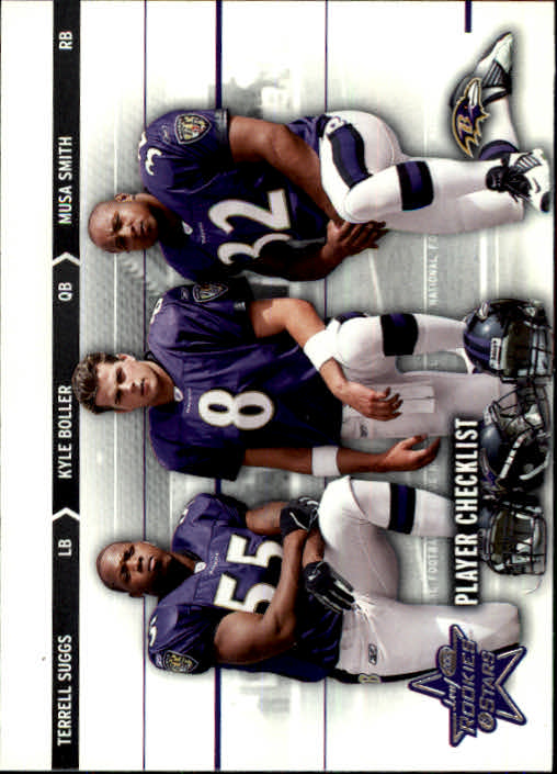 2003 Leaf Rookies and Stars #97 Kyle Boller/Terrell Suggs/Musa Smith CL front image