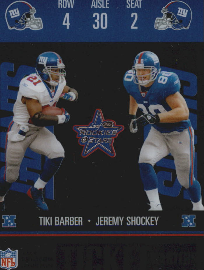 2003 Leaf Rookies and Stars Ticket Masters #TM20 Jeremy Shockey/Tiki Barber