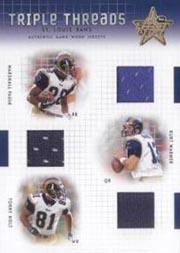 2003 Leaf Rookies and Stars Triple Threads #TT2 Kurt Warner/Marshall Faulk/Torry Holt