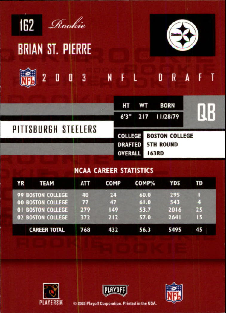 2003 Playoff Prestige #162 Brian St.Pierre RC