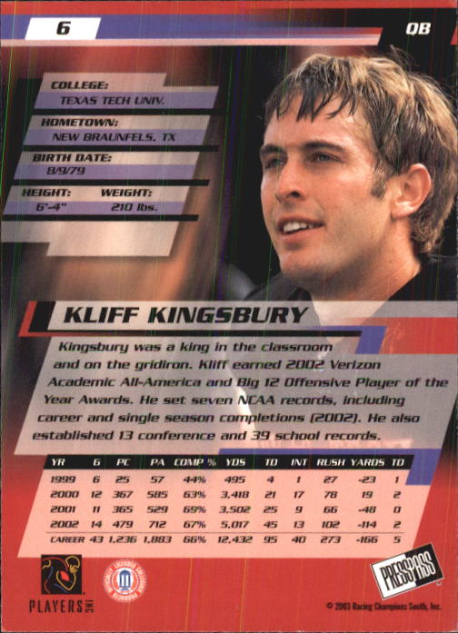 2003 Press Pass #6 Kliff Kingsbury back image