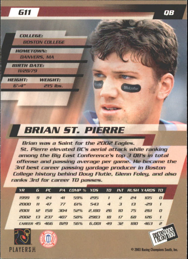 2003 Press Pass Gold Zone #G11 Brian St.Pierre back image