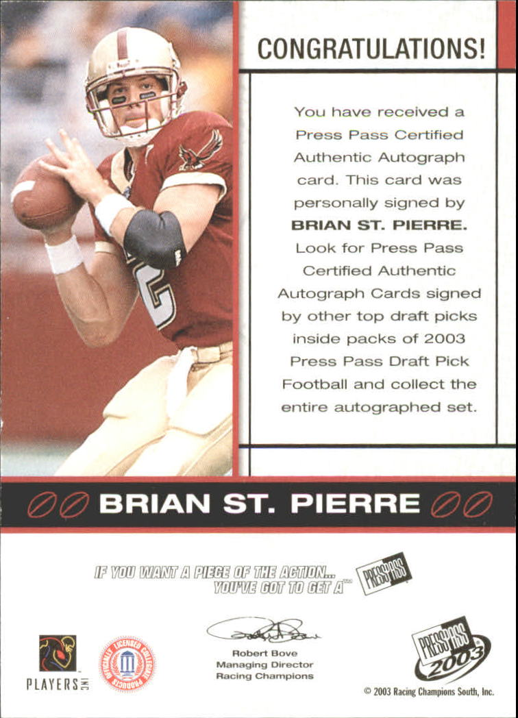 2003 Press Pass Autographs Bronze #50 Brian St.Pierre back image