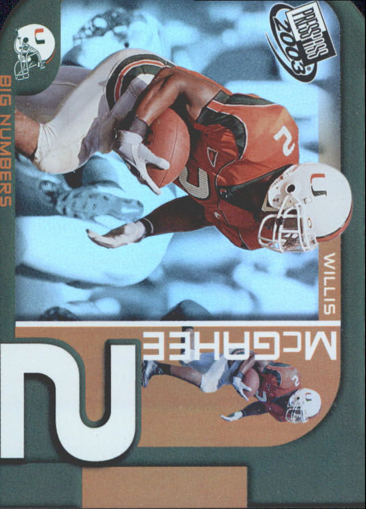 2003 Press Pass Big Numbers #BN22 Willis McGahee
