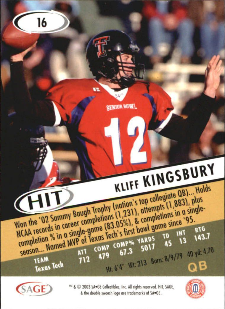 2003 SAGE HIT #16 Kliff Kingsbury back image