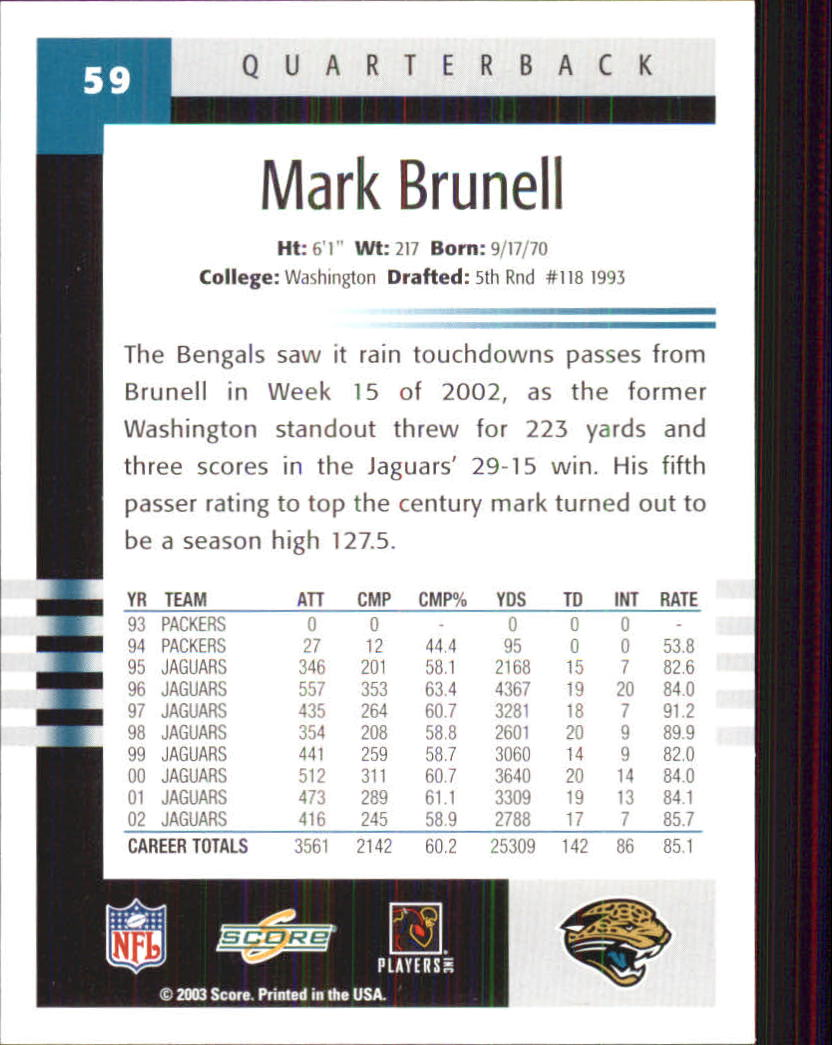 2003 Score #59 Mark Brunell back image