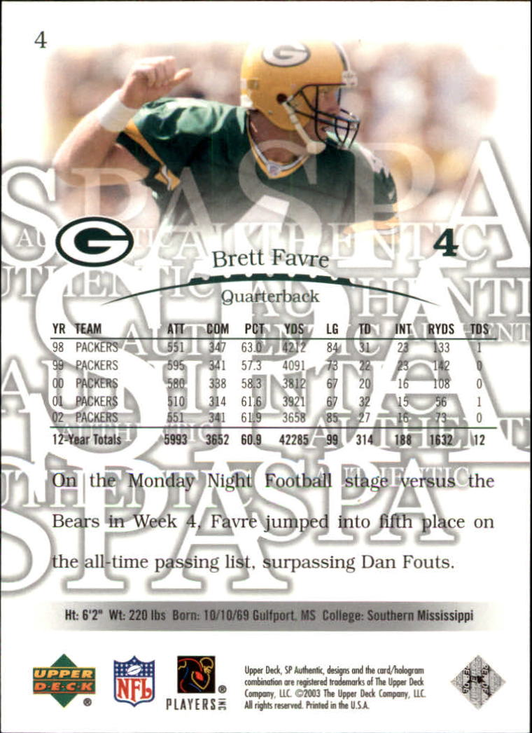 2003 SP Authentic #4 Brett Favre back image