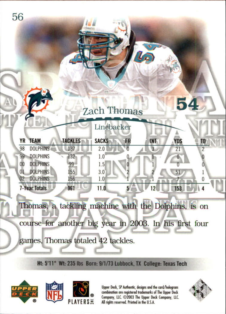 2003 SP Authentic #56 Zach Thomas back image