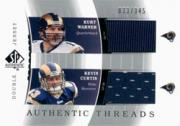 2003 SP Authentic Threads Doubles #KWKC Kurt Warner/Kevin Curtis