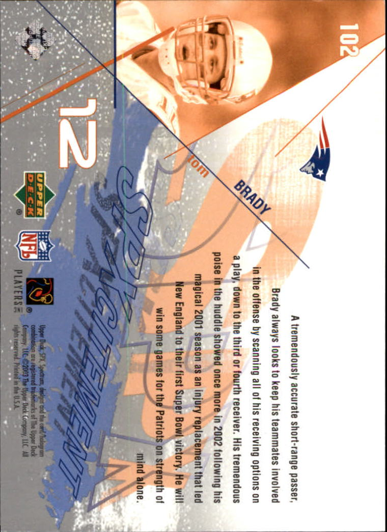 2003 SPx #102 Tom Brady XCT back image