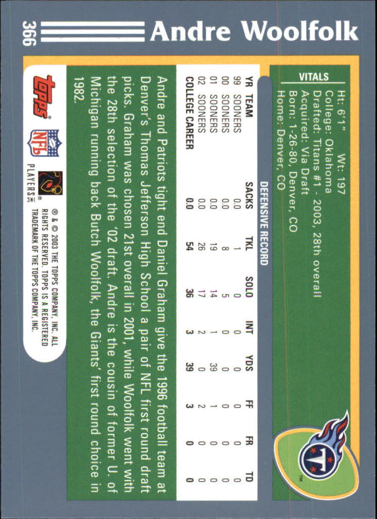 2003 Topps #366 Andre Woolfolk RC back image