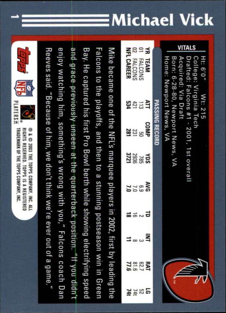 2003 Topps Collection #1 Michael Vick back image