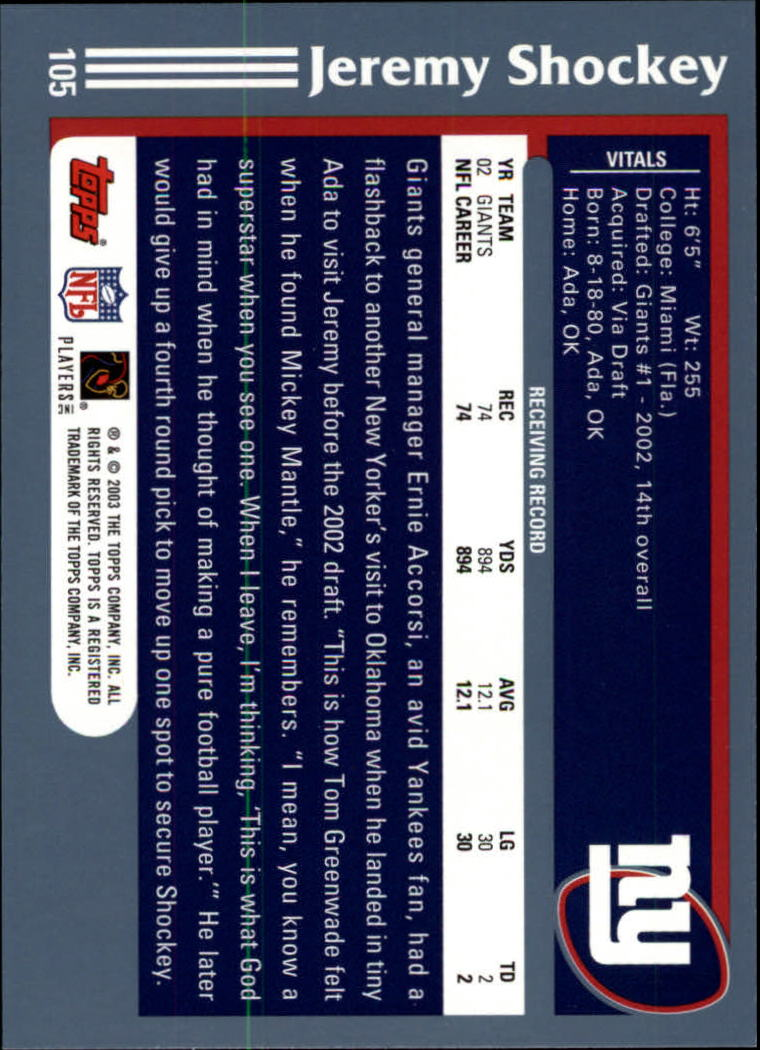 2003 Topps Collection #105 Jeremy Shockey back image