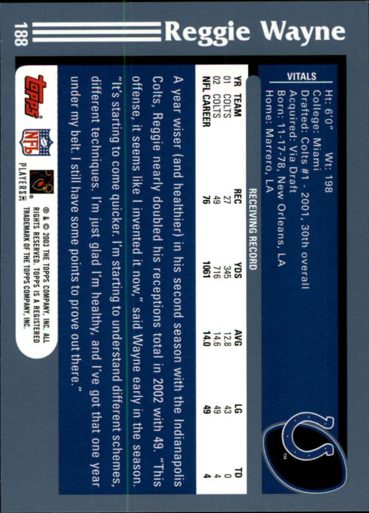 2003 Topps Collection #188 Reggie Wayne back image