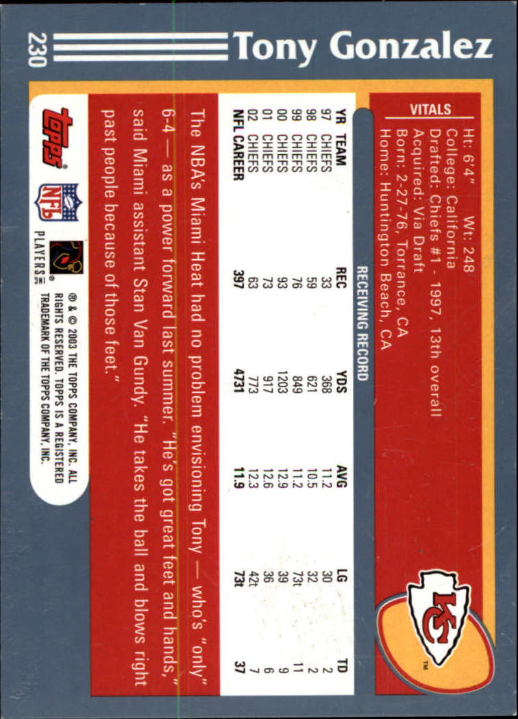 2003 Topps Collection #230 Tony Gonzalez back image