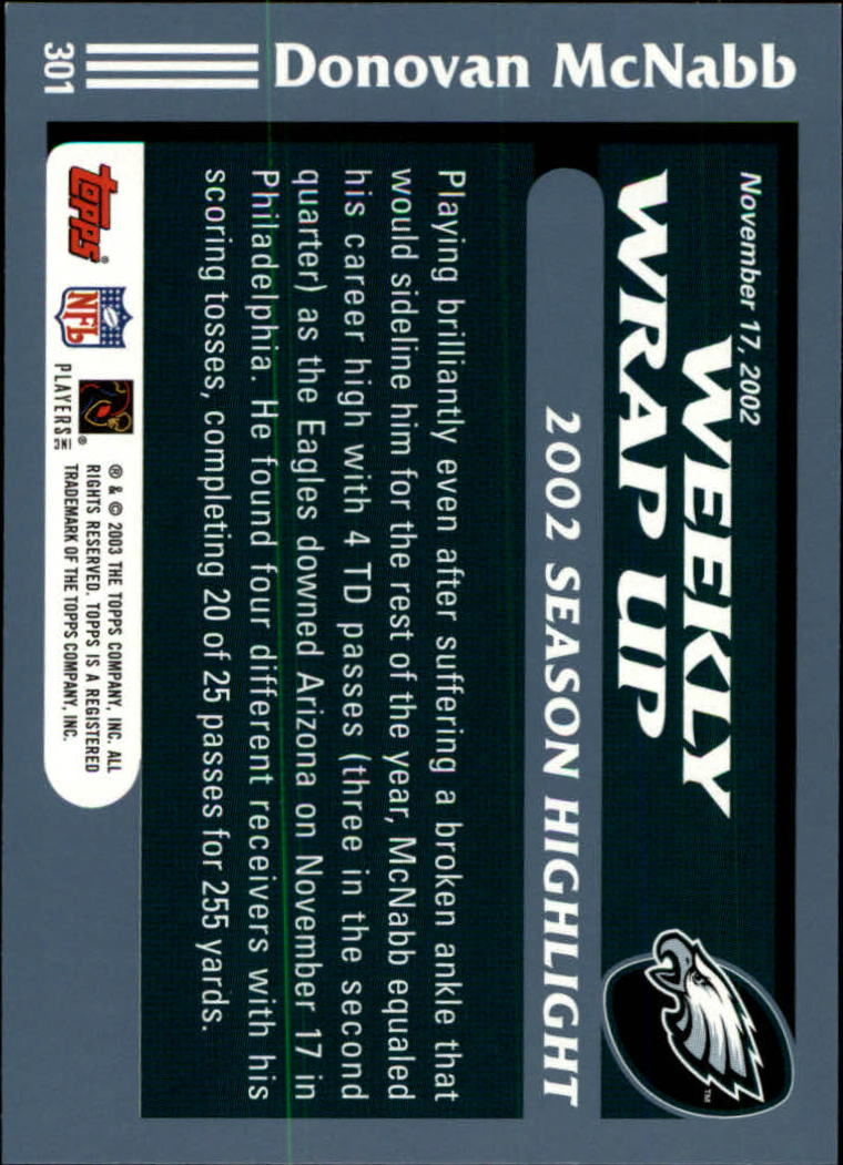 2003 Topps Collection #301 Donovan McNabb WW back image