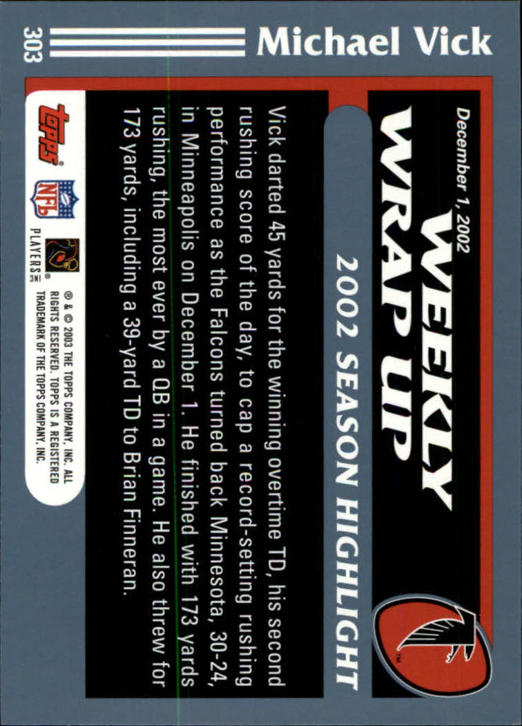 2003 Topps Collection #303 Michael Vick WW back image