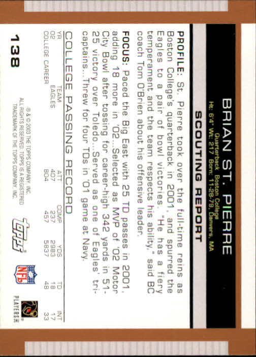 2003 Topps Draft Picks and Prospects #138 Brian St.Pierre RC back image