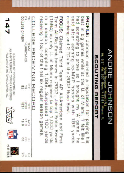 2003 Topps Draft Picks and Prospects #147 Andre Johnson RC back image