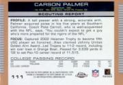 2003 Topps Draft Picks and Prospects Chrome #111 Carson Palmer back image