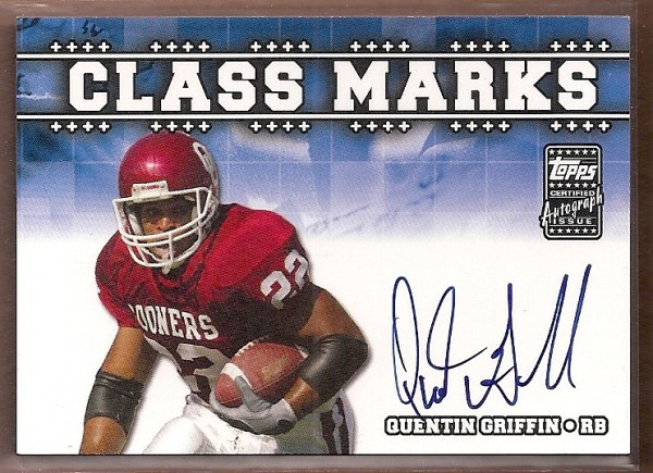 2003 Topps Draft Picks and Prospects Class Marks Autographs #CMQB Quentin Griffin G