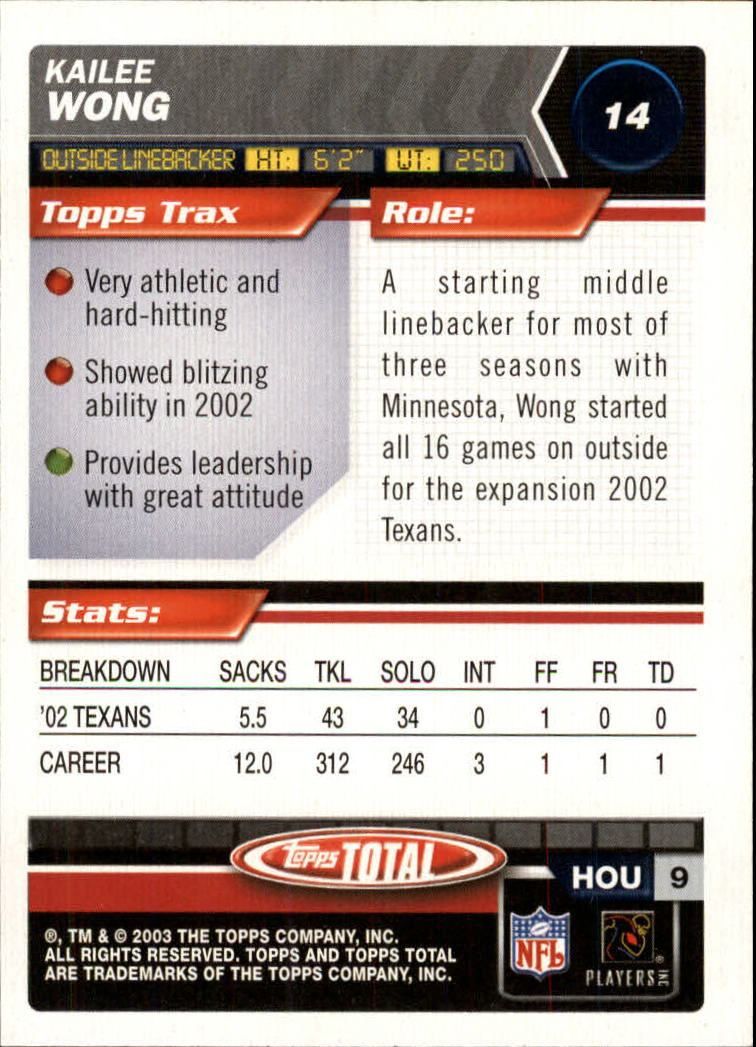 2003 Topps Total #14 Kailee Wong