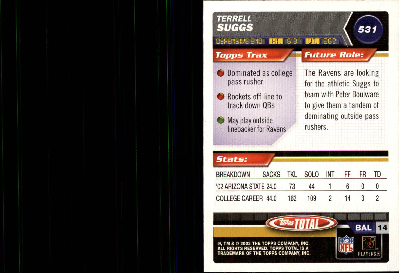 2003 Topps Total Silver #531 Terrell Suggs back image