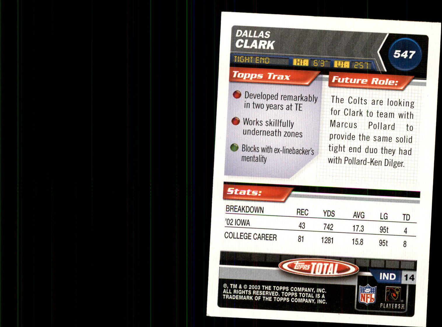 2003 Topps Total Silver #547 Dallas Clark back image