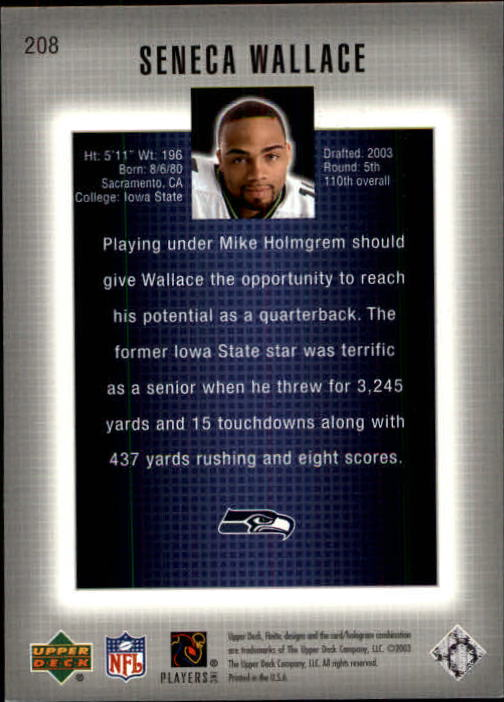 2003 Upper Deck Finite #208 Seneca Wallace RC back image