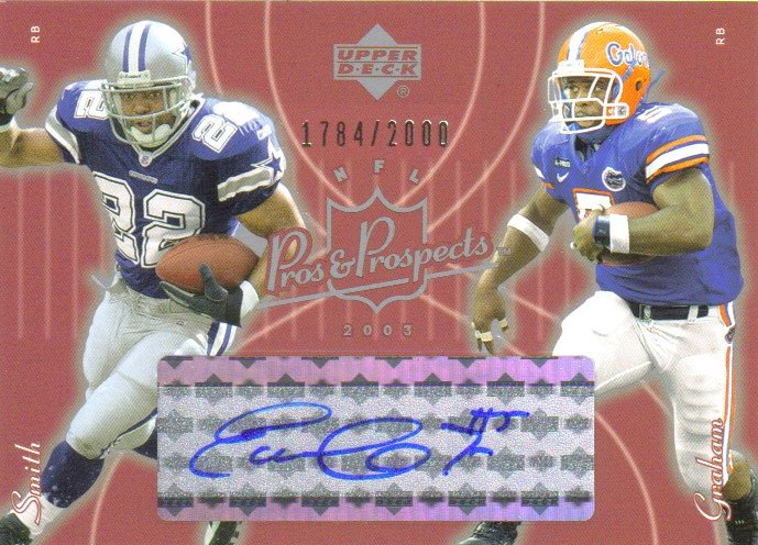 2003 Upper Deck Pros and Prospects #142 Earnest Graham AU RC/Emmitt Smith/2000