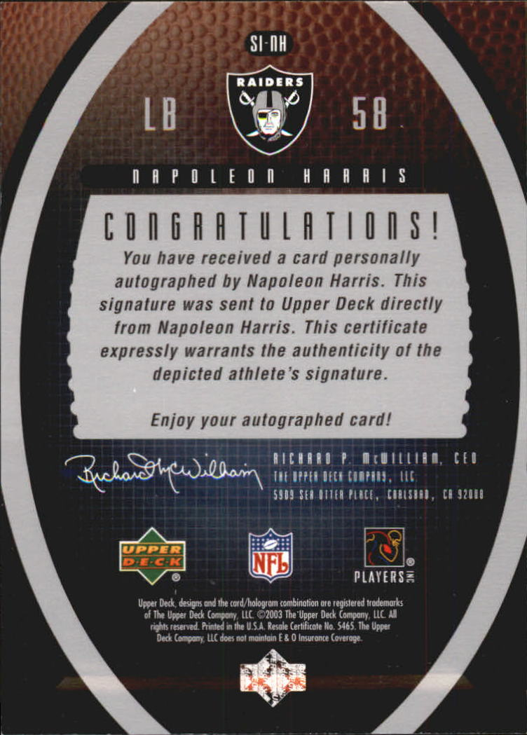 2003 Upper Deck Standing O Signatures #SINH Napoleon Harris/141*