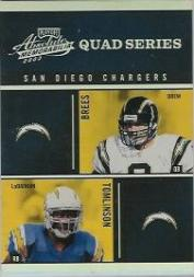 2003 Absolute Memorabilia Quad Series #QS12 Drew Brees/LaDainian Tomlinson/Quentin Jammer/David Boston