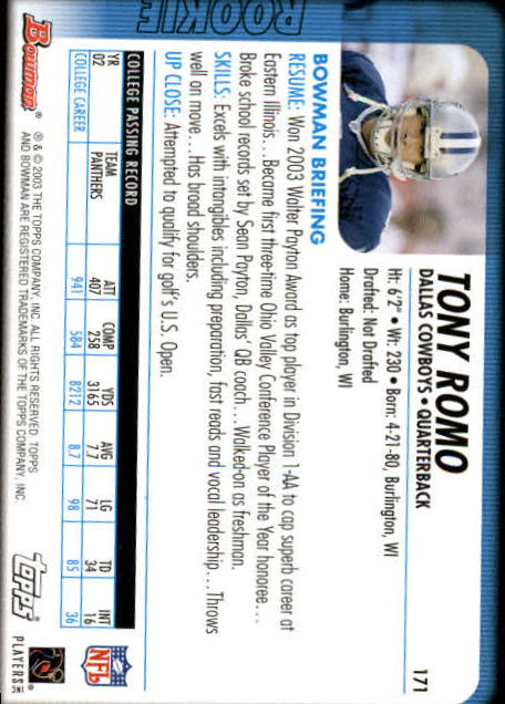 2003 Bowman #171 Tony Romo RC back image
