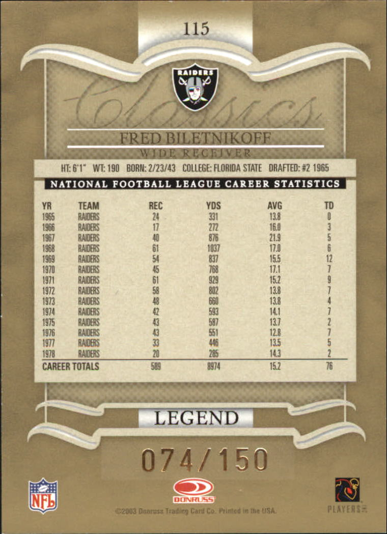 2003 Donruss Classics Timeless Tributes #115 Fred Biletnikoff back image