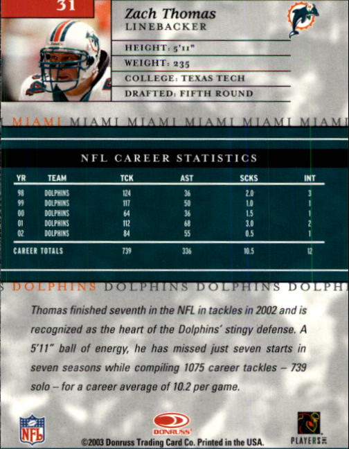 2003 Donruss Elite #31 Zach Thomas back image