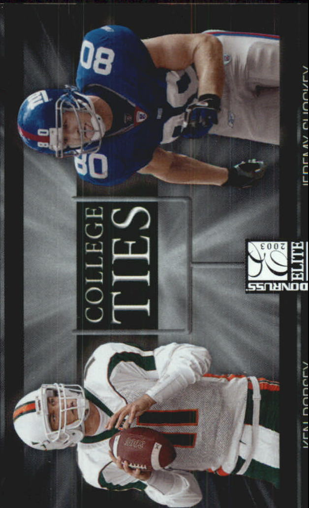 2003 Donruss Elite College Ties #CT6 Jeremy Shockey/Ken Dorsey