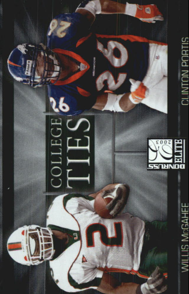 2003 Donruss Elite College Ties #CT8 Clinton Portis/Willis McGahee