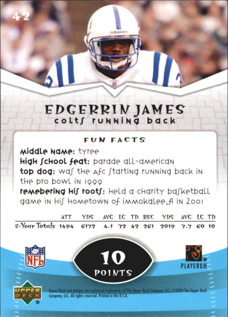 2004 Upper Deck Power Up #42 Edgerrin James back image