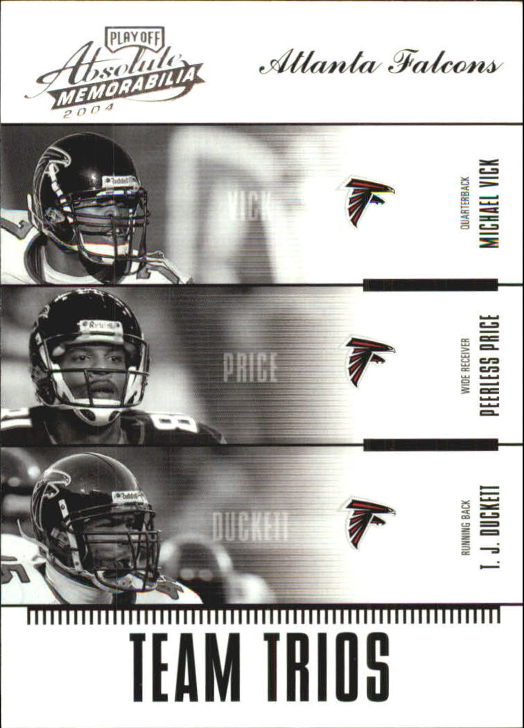 2004 Absolute Memorabilia Team Trios #TTR2 Michael Vick/Peerless Price/T.J. Duckett