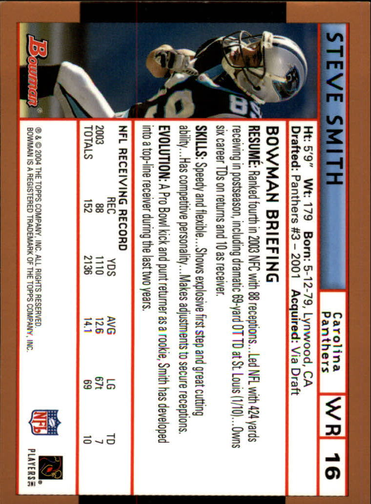 2004 Bowman Gold #16 Steve Smith back image