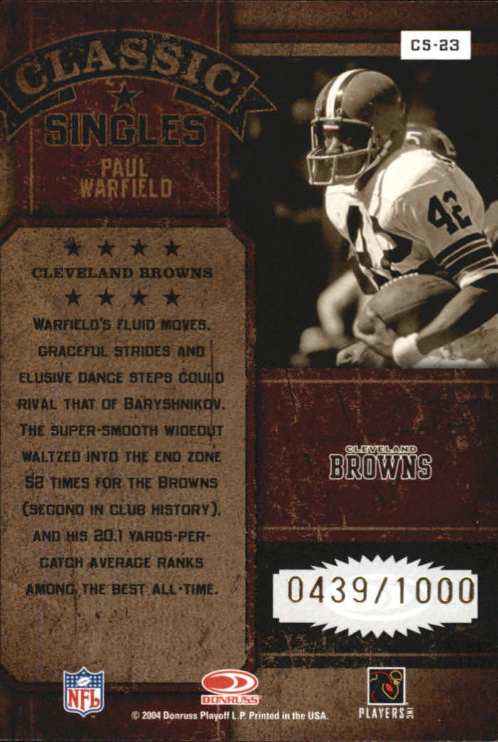 2004 Donruss Classics Classic #C23 Paul Warfield back image