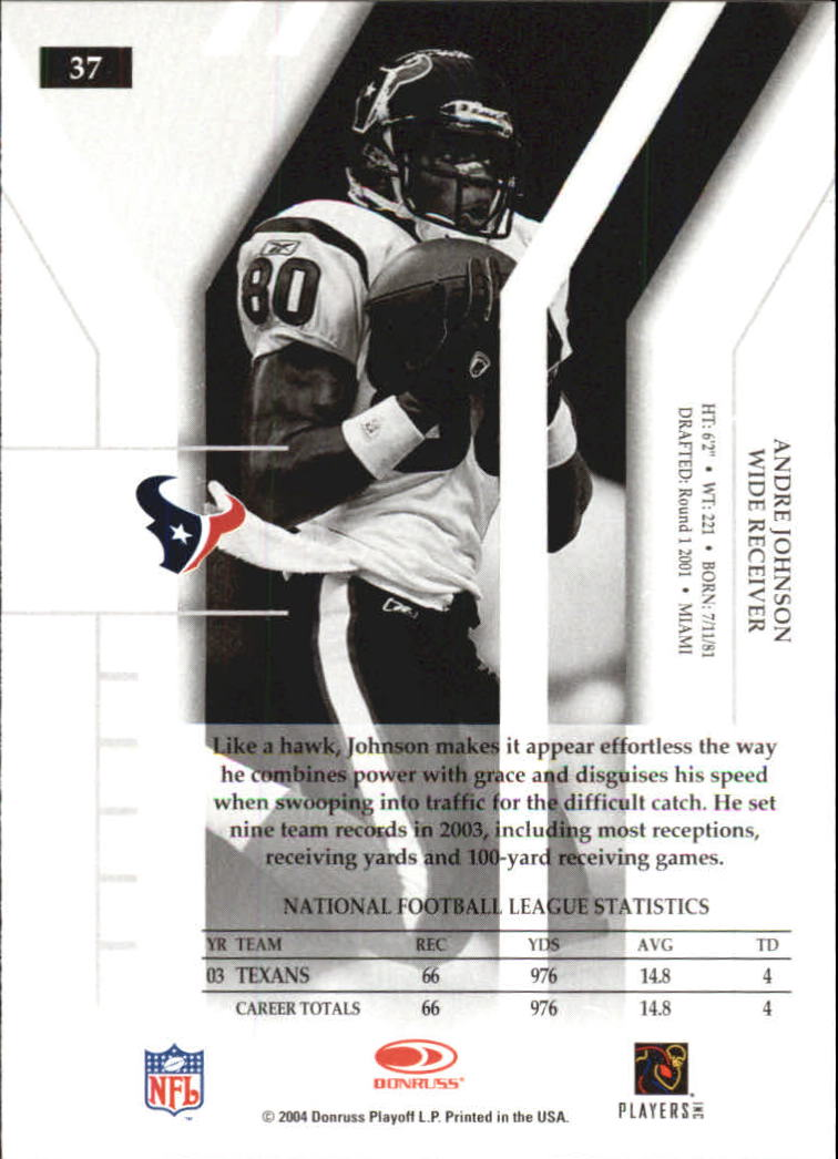 2004 Donruss Elite #37 Andre Johnson back image