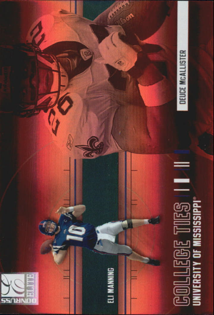 2004 Donruss Elite College Ties #CT1 Deuce McAllister/Eli Manning