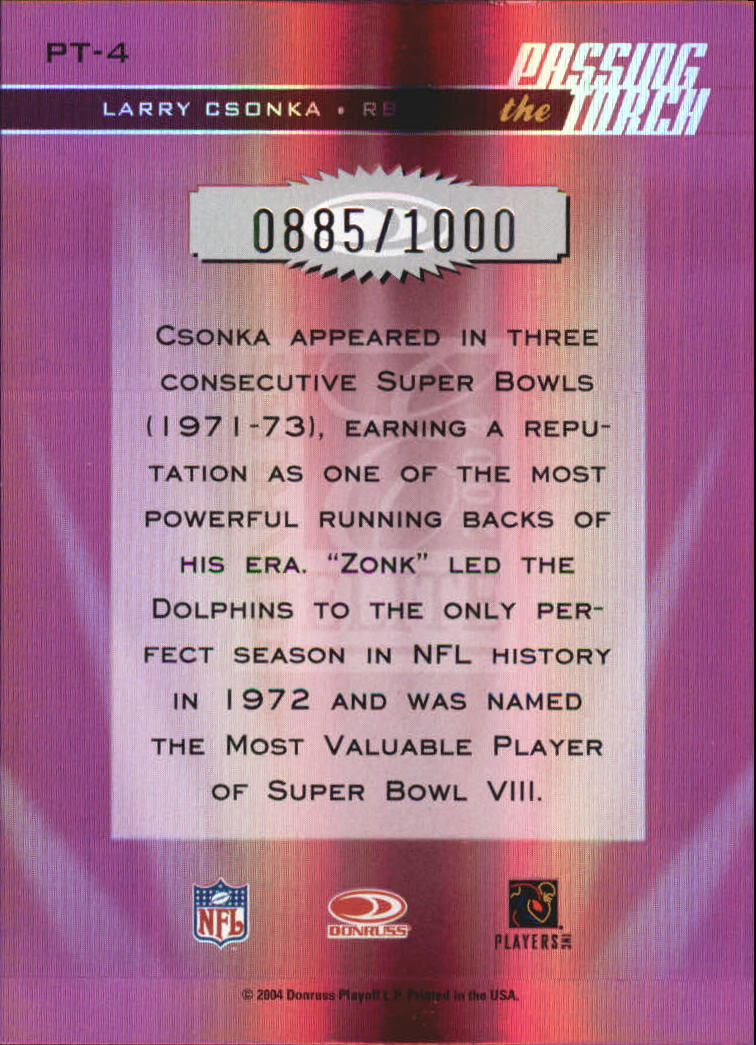 2004 Donruss Elite Passing the Torch #PT4 Larry Csonka back image