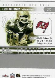 2004 Fleer Authentix #30 Joey Galloway back image