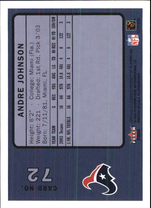 2004 Fleer Platinum #72 Andre Johnson back image