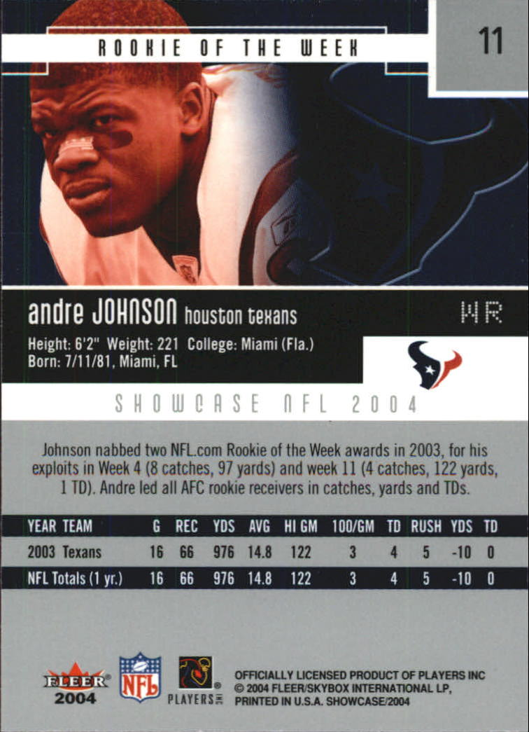 2004 Fleer Showcase #11 Andre Johnson back image